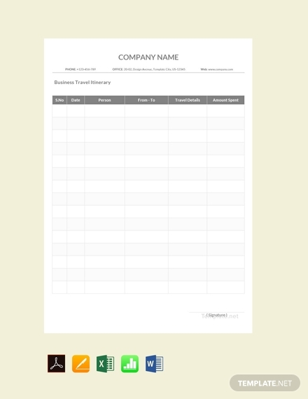 sample business travel itinerary