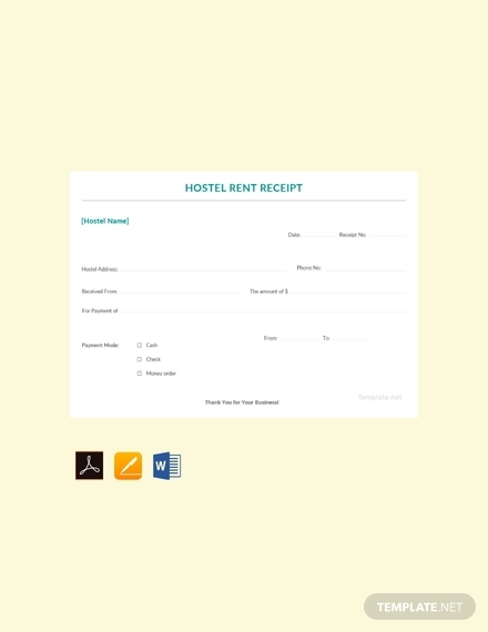 sample hostel rent receipt template