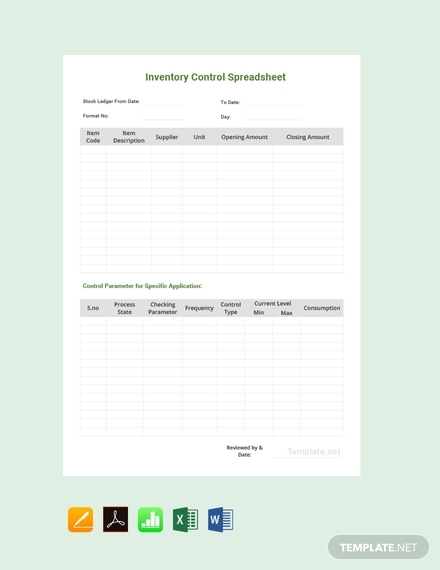 sample inventory control spreadsheet