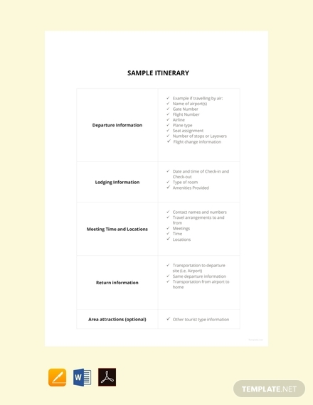 sample itinerary design