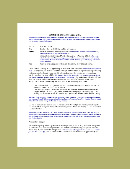 sample memo for case analysis
