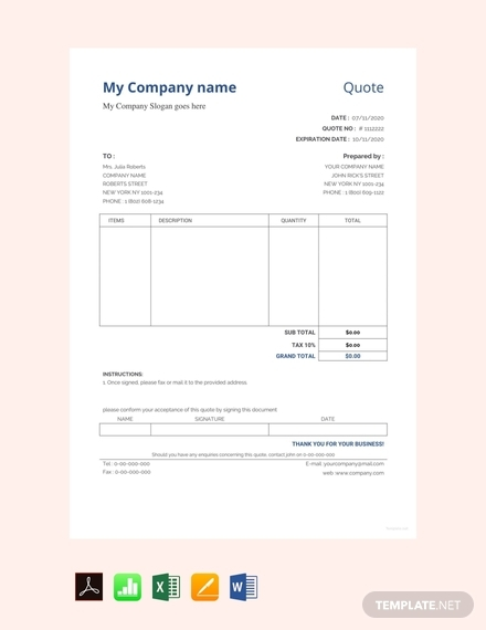 sample quotation format template