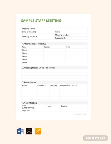 sample staff meeting minutes