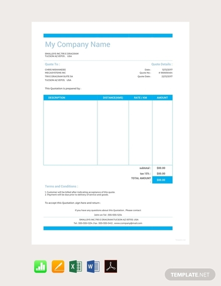 sample vehicle quotation template