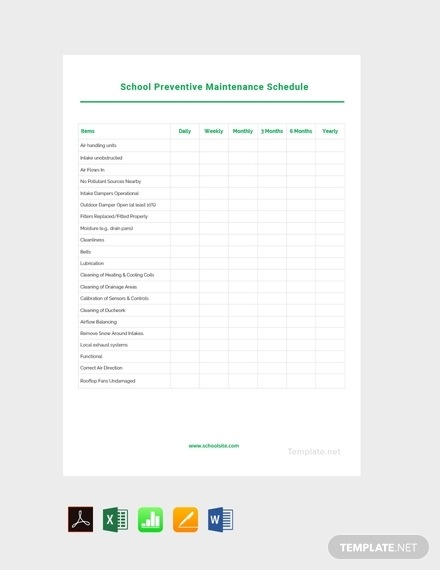 school preventive maintenance schedule template