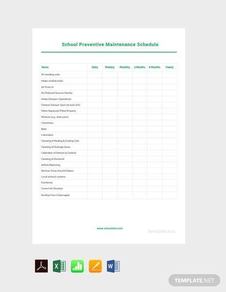school preventive maintenance schedule template