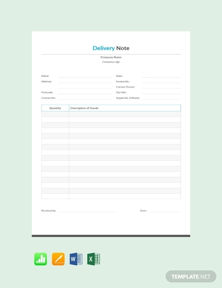 simple delivery note