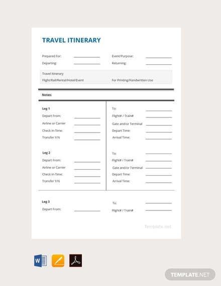 simple travel itinerary