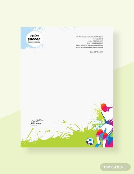 soccer letterhead