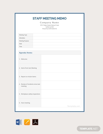 staff meeting memo template
