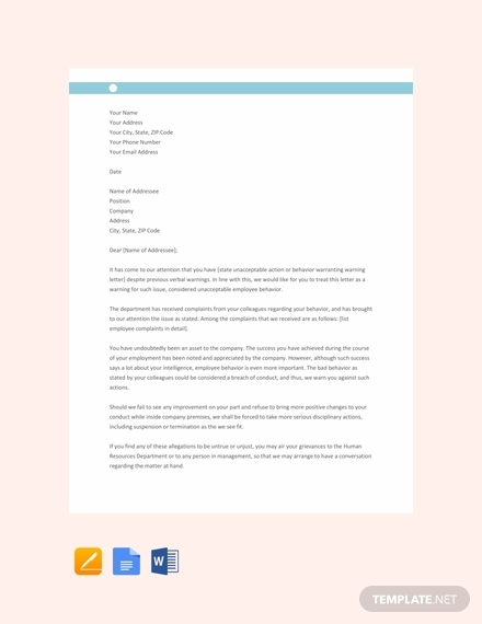 staff warning letter template