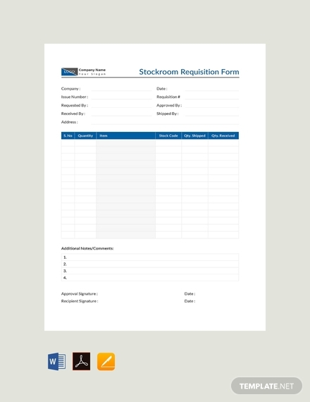 stockroom requisition form
