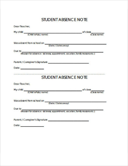 student absence note
