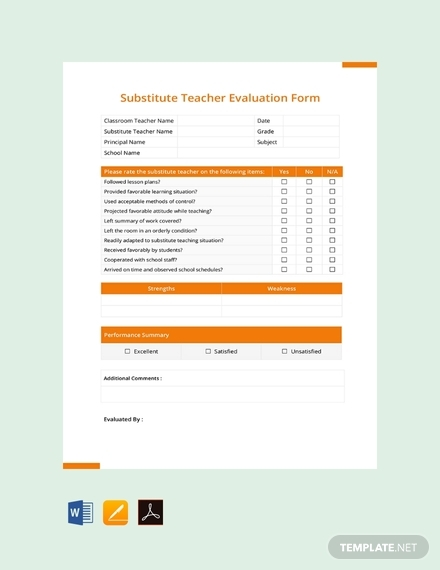 substitute teacher evaluation form