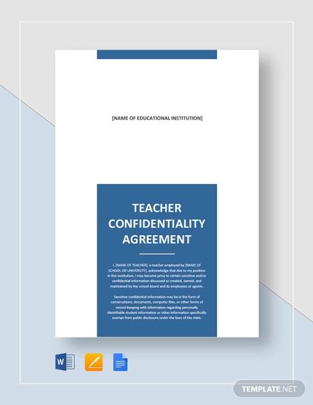 teacher confidentiality agreement template