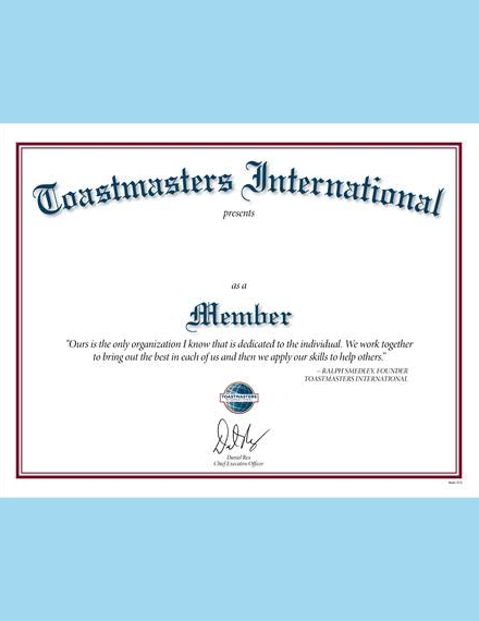 toastmasters international membership certificate
