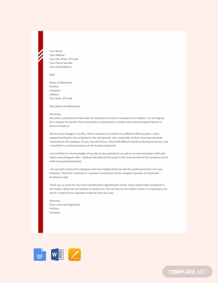 transfer letter from one location to other template