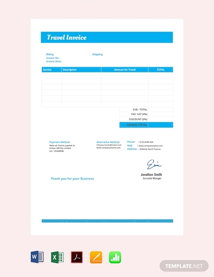 travel invoice design