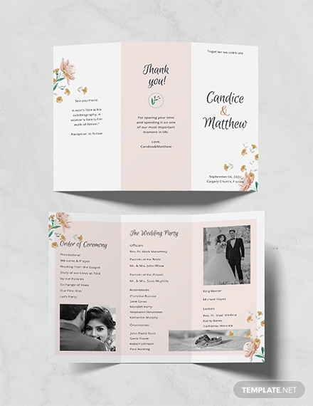 tri fold wedding program