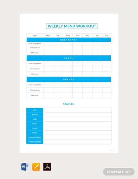 weekly menu workout schedule