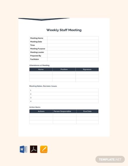 weekly staff meeting