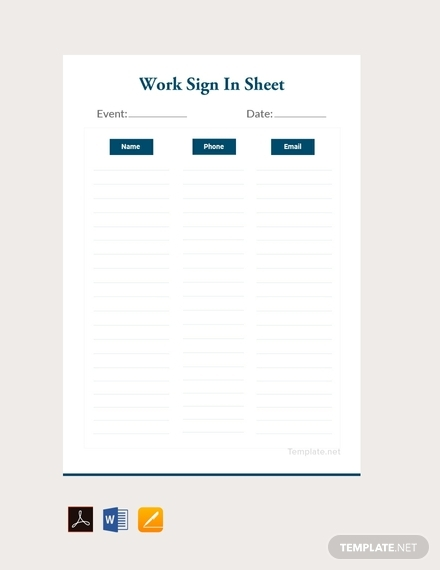work sign in sheet