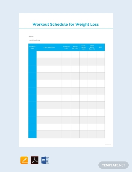 workout schedule for weight loss