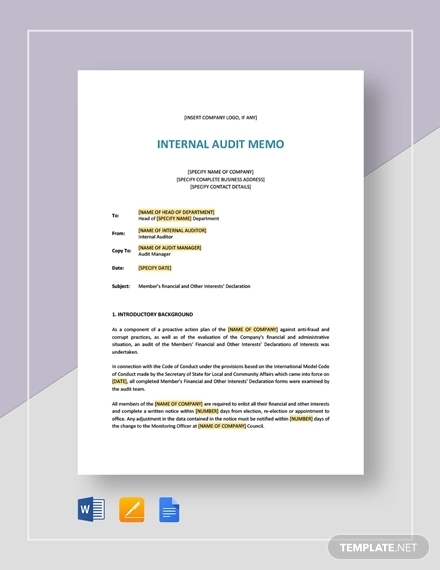 internal audit memo