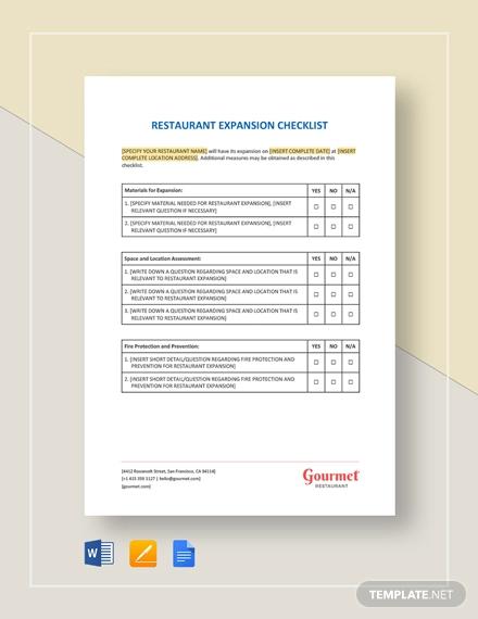 restaurant exapansion checklist