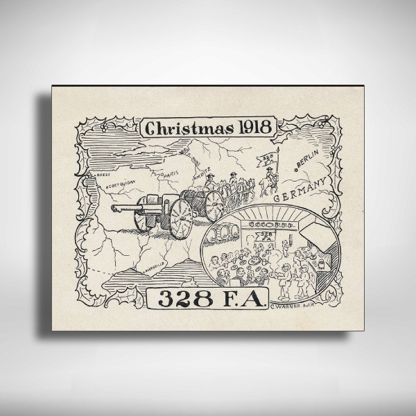 1918 black and white christmas greeting card