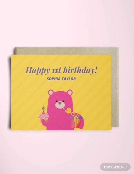 1st birthday greeting card template