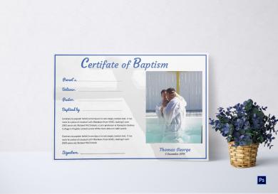 adult baptism certificate