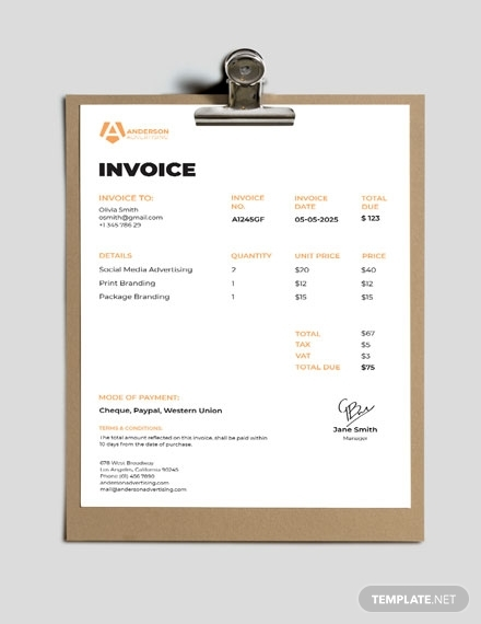 advertising agency invoice