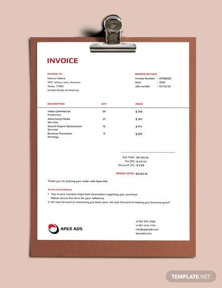 advertising consultant invoice