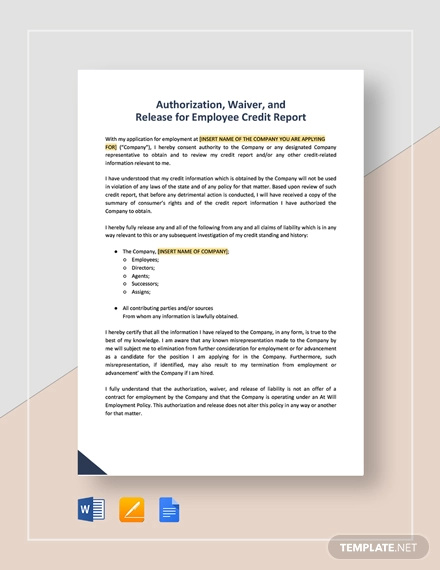 authorization waiver and release for employee credit report template