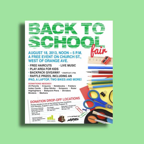 back to school fair flyer