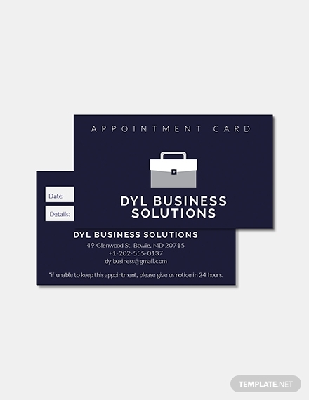 basic business appointment card