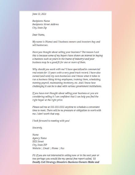 basic commercial real estate prospecting letter