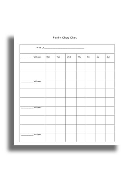 basic family chore chart