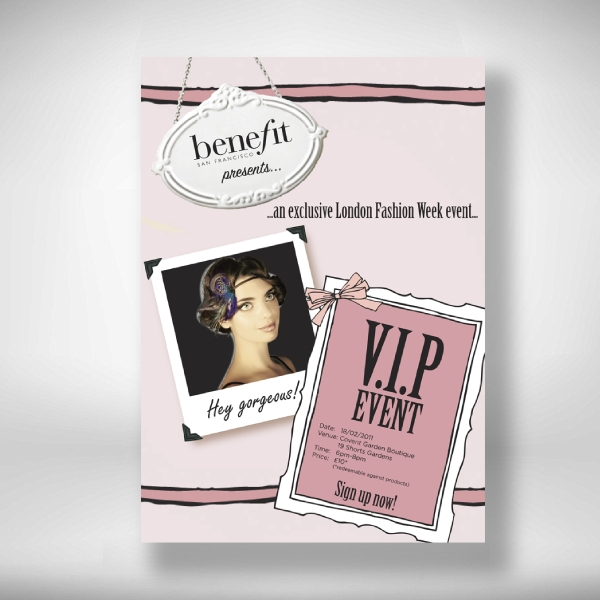 benefit cosmetics london fashion week invitation