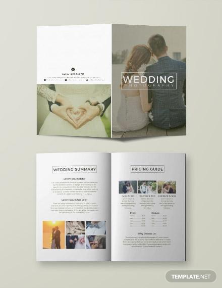 bi fold wedding photography brochure