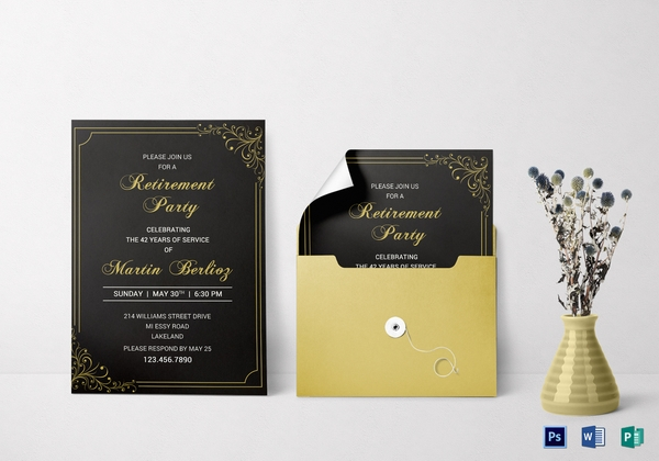 black and gold retirement invitation