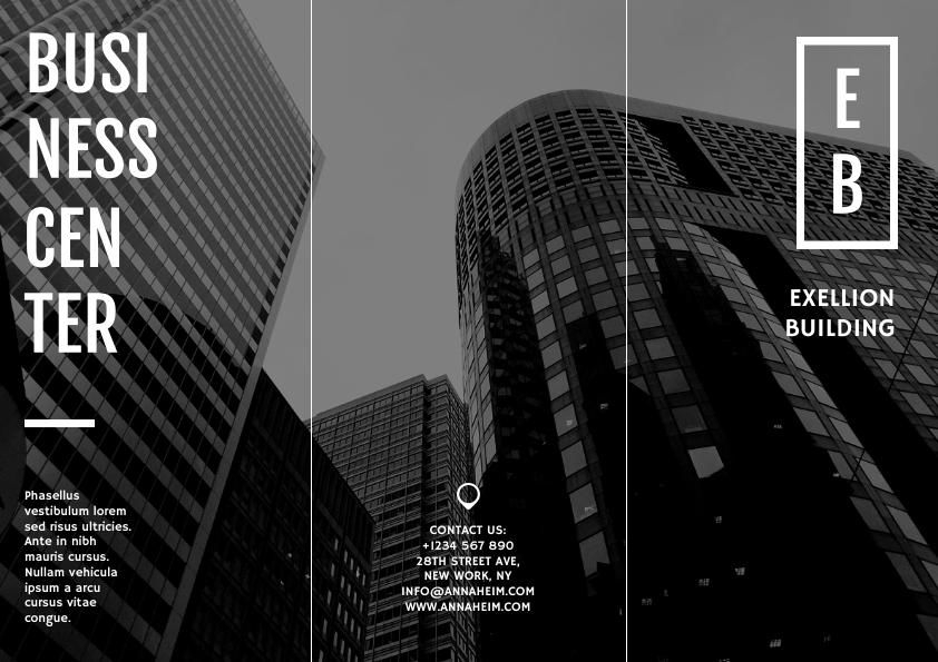 black and white trifold real estate brochure template