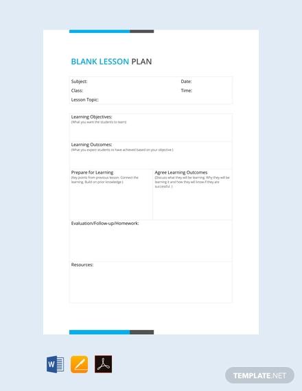 blank lesson plan