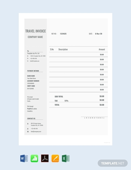 blank travel invoice