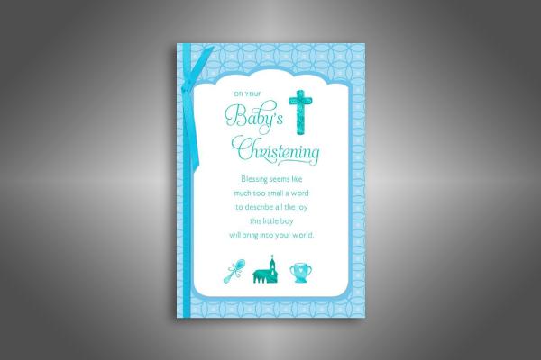 blue cross baby boy christening invitation card