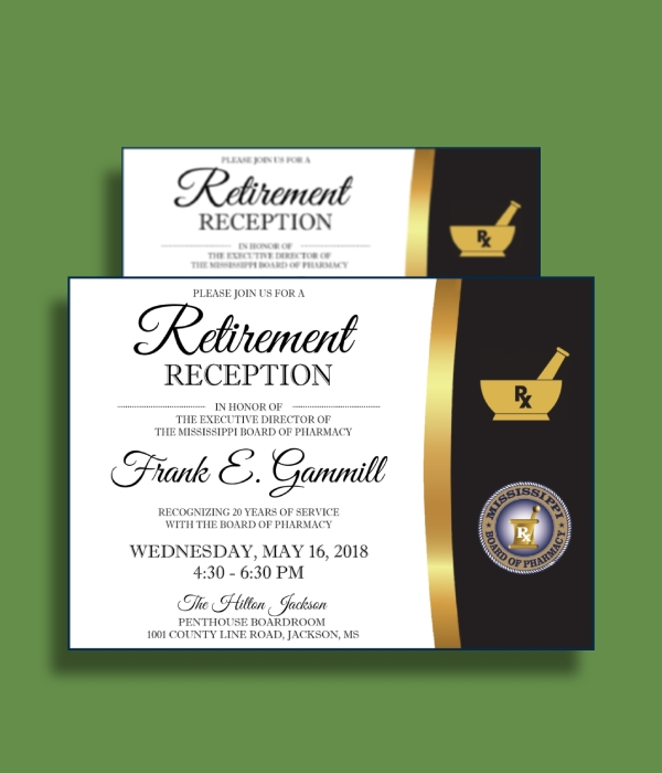 board of pharmacy executive director retirement reception invitation