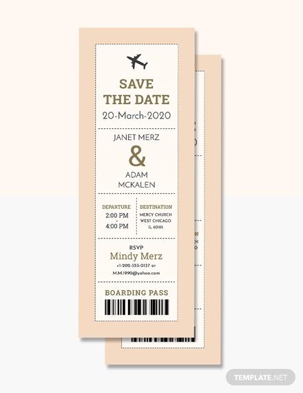 boarding pass ticket wedding invitation