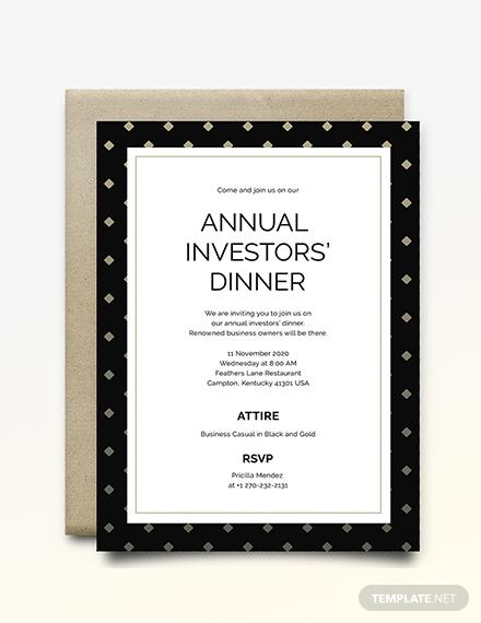 business dinner invitation