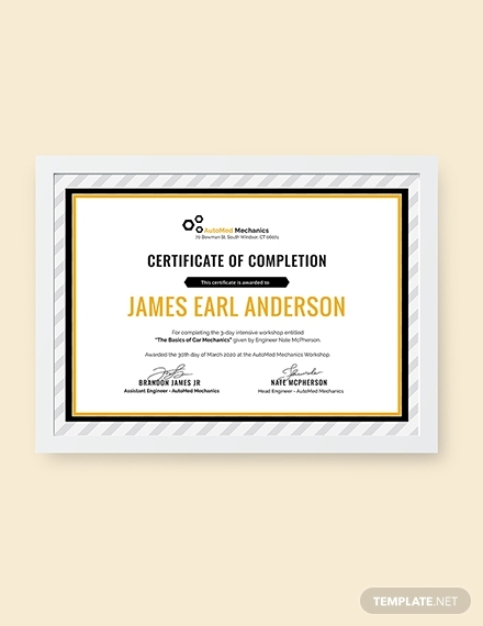 car workshop experience certificate